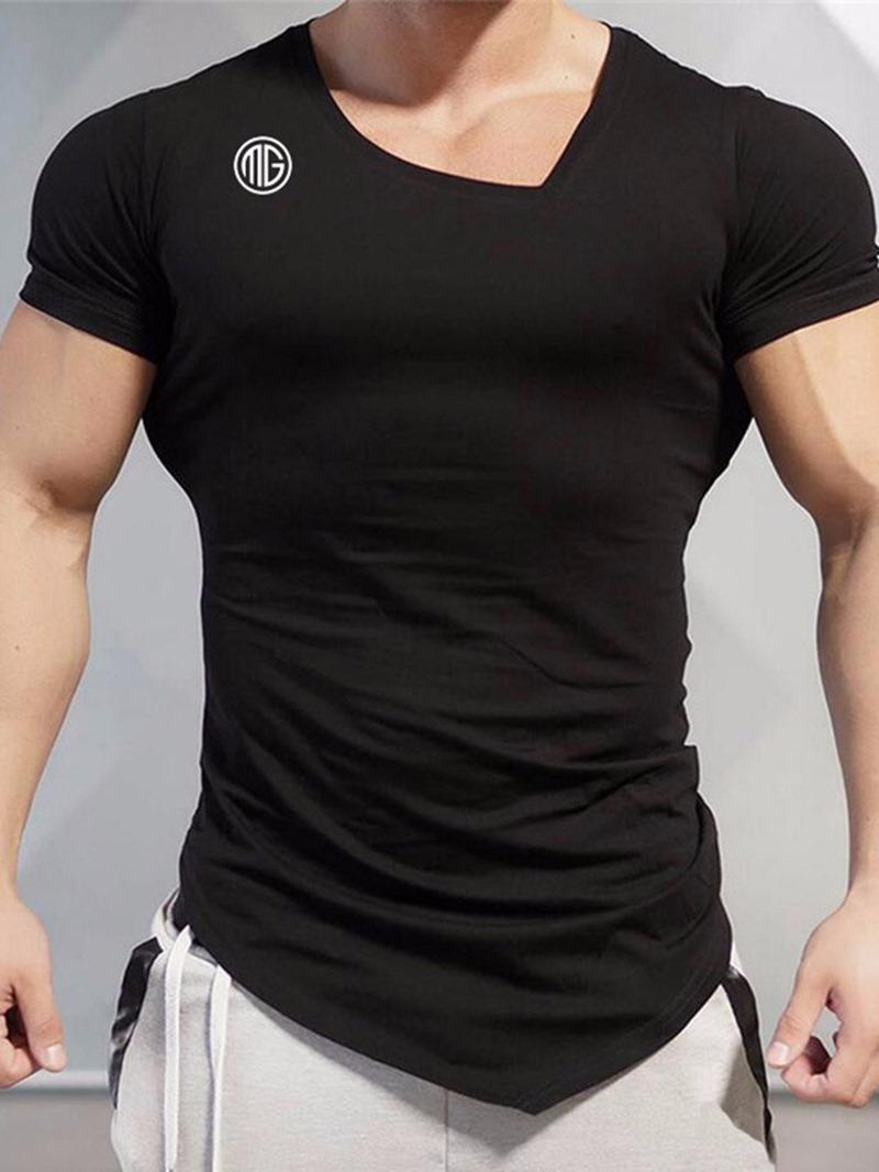 Ericdress Letter Print Oblique Collar Pullover Short Sleeve T-shirt