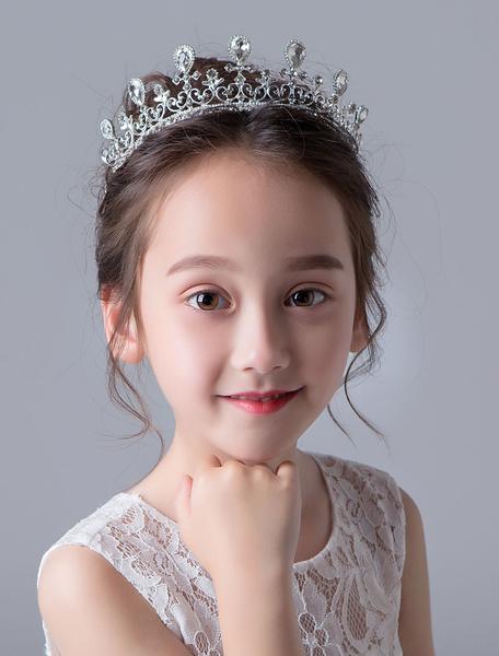 Milanoo Flower Girl Tiara Crown Silver Kids Headpieces Rhinestone Beaded Little Girl Hair Accessories
