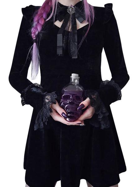 Milanoo Gothic Lolita OP Dress Velour Black Ruffles Lolita Vestidos de una pieza