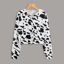 Cow Print Zip Up Hoodie