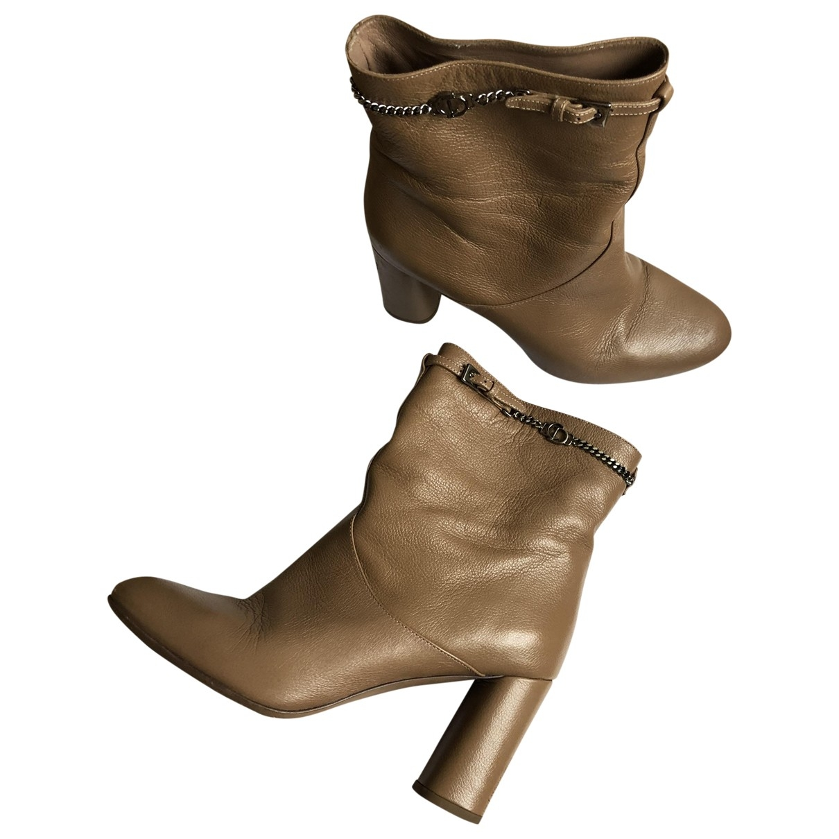 Dior - Boots   pour femme en cuir - camel