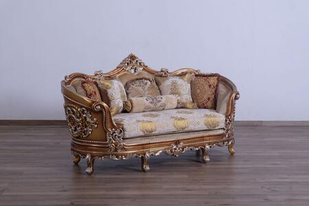 Saint Germain Collection Luxury Loveseat  Hand Made & Carved into Mahogany Wood Solid  Individual Nail Head Trim  in Parisian Brown Light Gold and