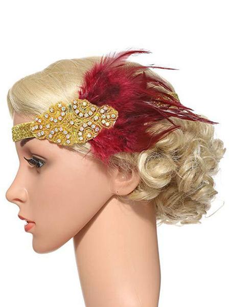 Milanoo Flapper Headpieces Feathers 1920s Great Gatsby Headband Rhinestone Women Vintage Hair Accessories Halloween