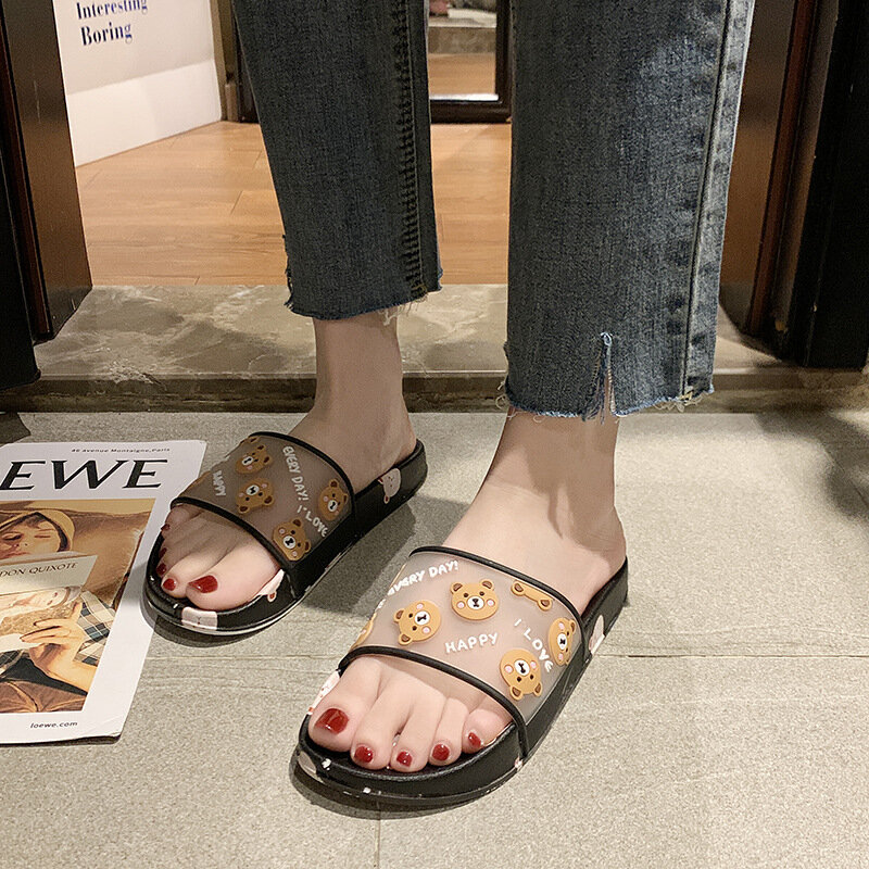 Women Bear Pattern Comfy Non Slip Flat Slippers