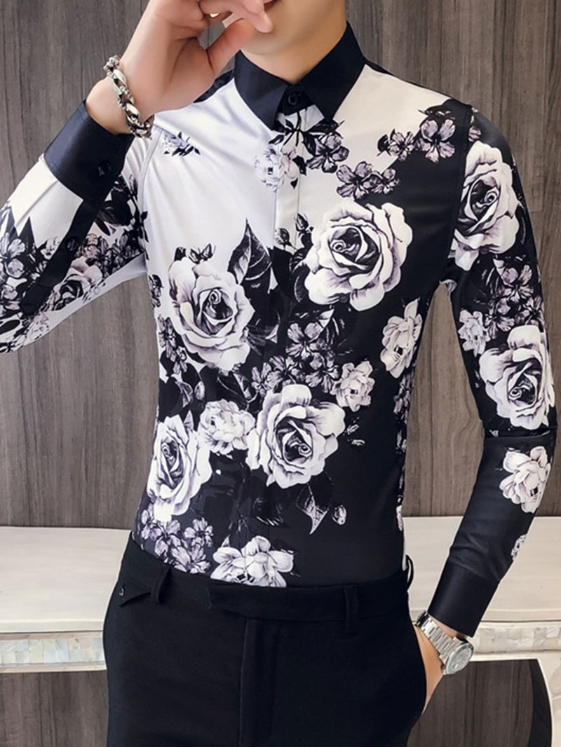 Ericdress Floral Print Color Block Mens Slim Casual Party Shirts