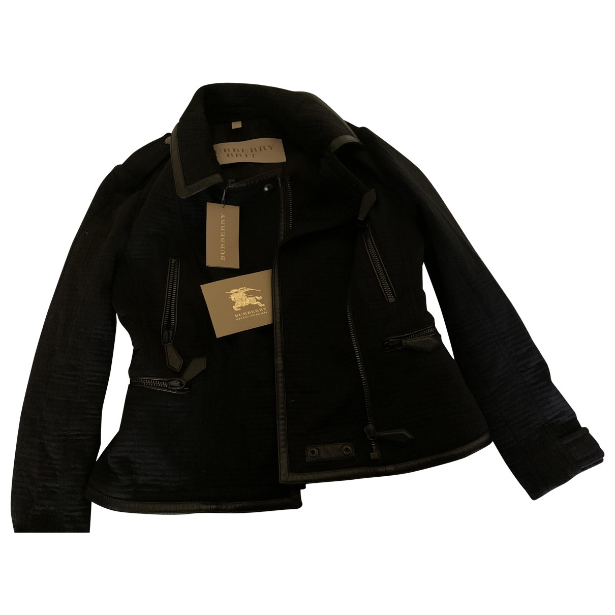 Burberry \N Black Cotton Leather jacket for Women 8 US