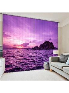 3D Beautiful Sea and Sunrise Romantic Purple Nature Scenery Polyester Curtain Roller Shade