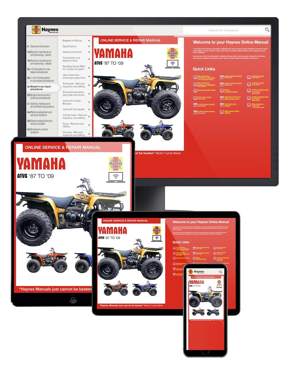 Yamaha YFB and YFM ATVs Haynes Online Manual covering Timberwolf, Bear Tracker, Bruin, and Big Bear (87-09)