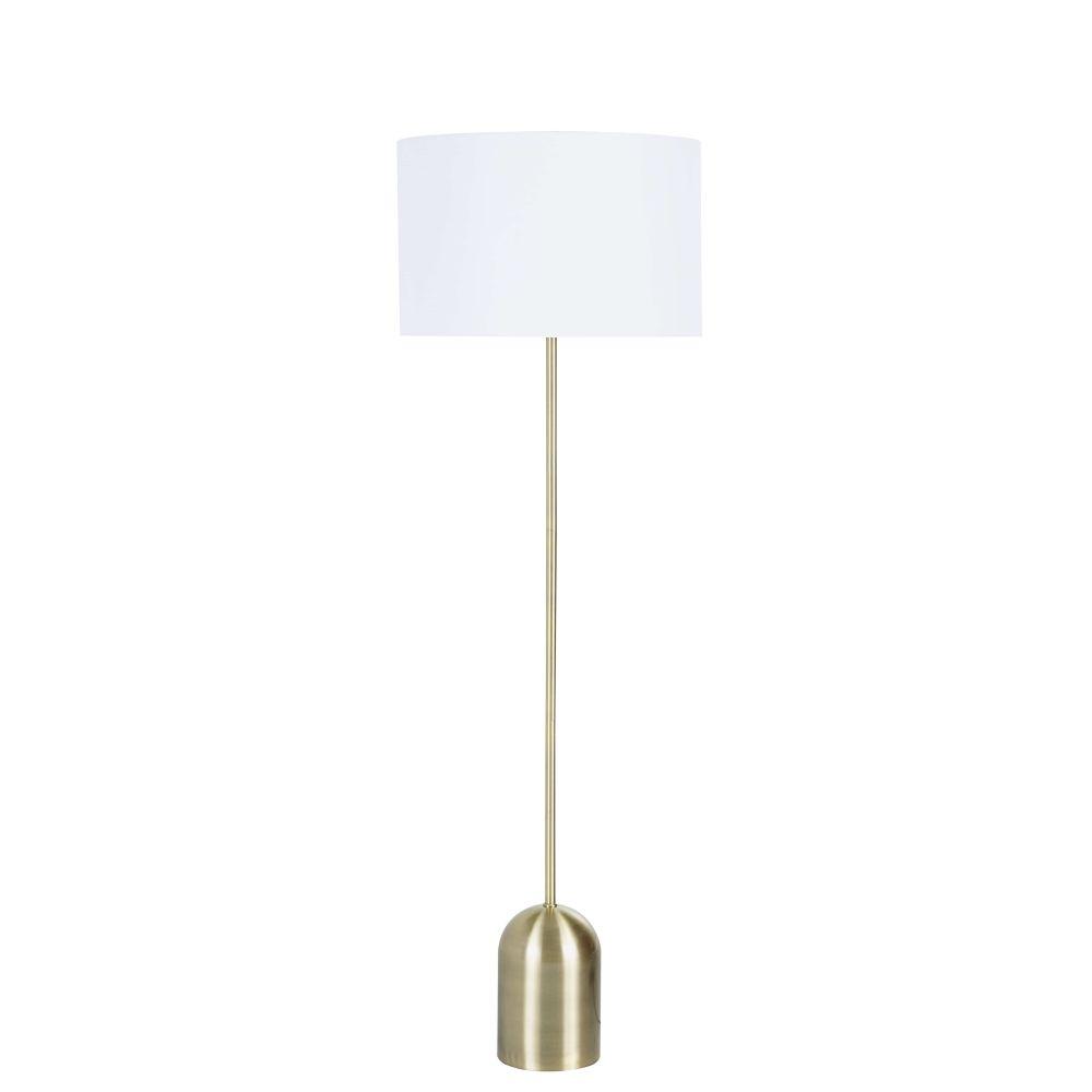 Stehlampe aus mattem goldfarbenem Metall mit weissem Lampenschirm H160