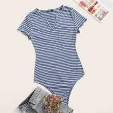 V-cut Neck Patch Pocket Striped Bodysuit