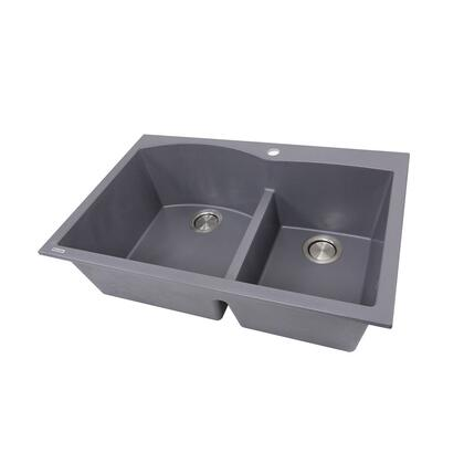 Plymouth Collection PR6040-TI 60/40 Double Bowl Dual-mount Granite Composite Kitchen Sink in Titanium with Matte
