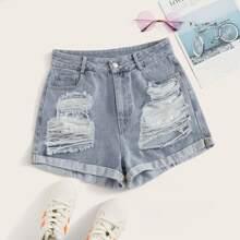 Cuffed Distressed Denim Shorts