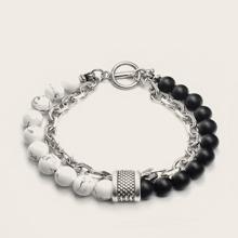 1 Stueck Maenner Armband mit mehrschichtigen Ketten und Perlen