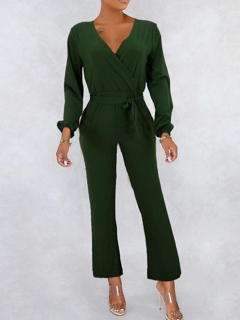 Ericdress Fashion Lace-Up Plain Loose Jumpsuit