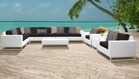 Miami Collection MIAMI-11a-BLACK Miami 11-Piece Patio Set 11a with 1 Corner Chair   4 Armless Chair   1 End Table   1 Coffee Table   2 Club Chair   1