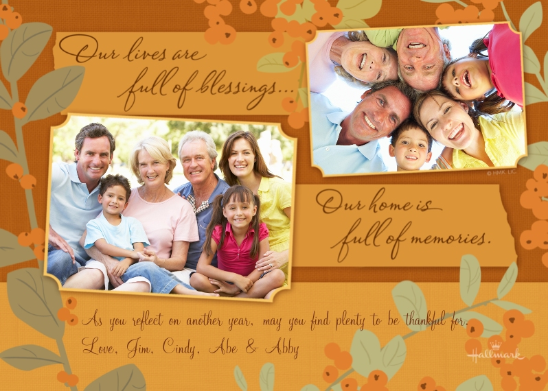 Thanksgiving Photo Cards Mail-for-Me Premium 5x7 Flat Card, Card & Stationery -Our Lives Are Full of Blessings