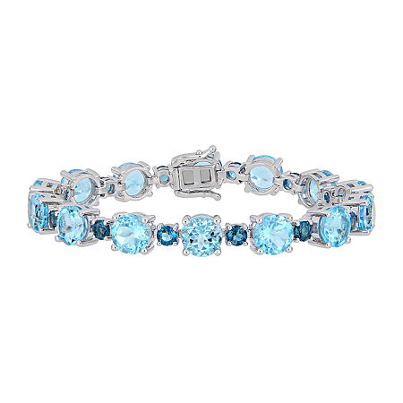 Genuine Blue Topaz Sterling Silver 7.25 Inch Tennis Bracelet, One Size , No Color Family