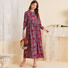 Floral Print Ruffle Trim Babydoll Dress
