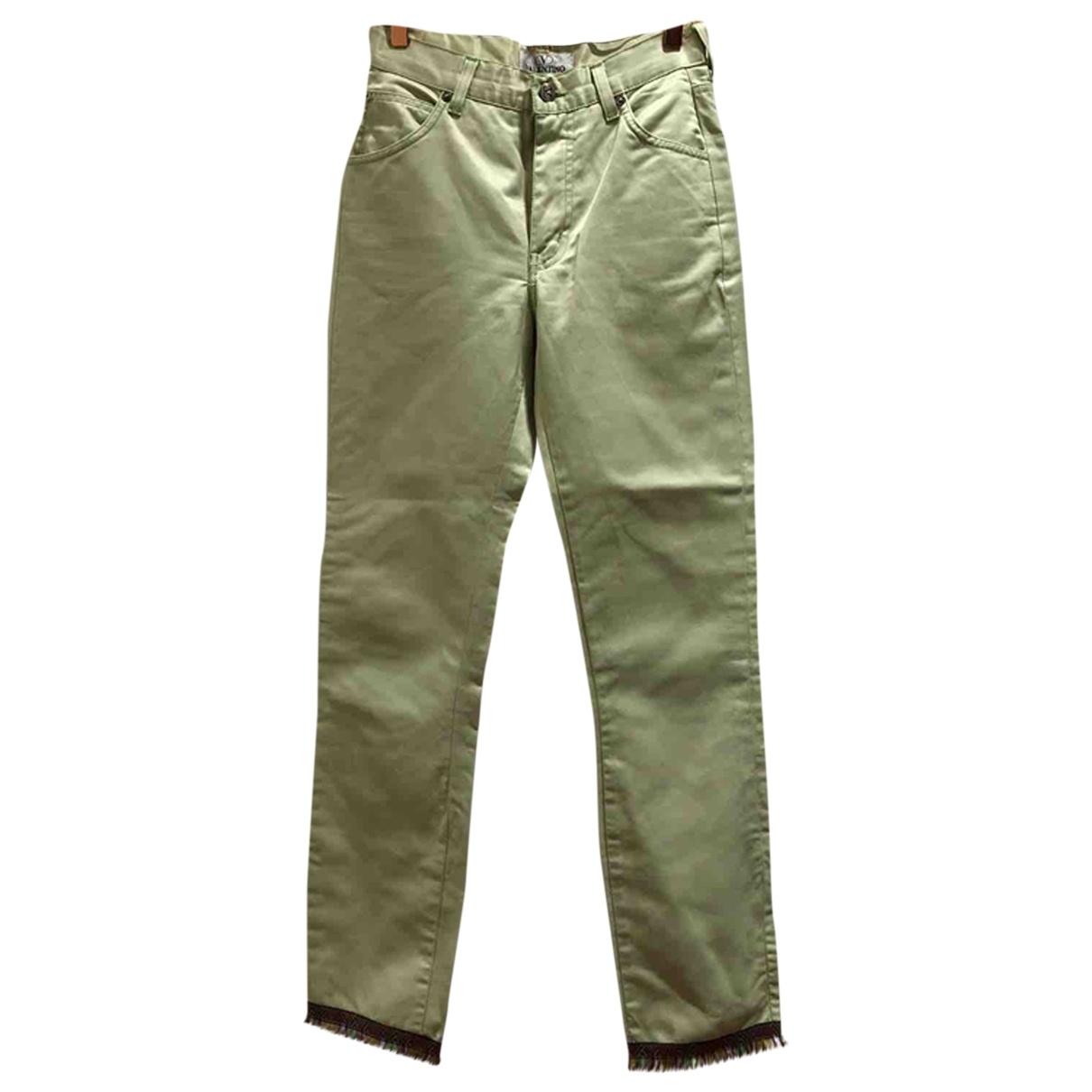 Valentino Garavani \N Green Cotton Trousers for Women 34 FR