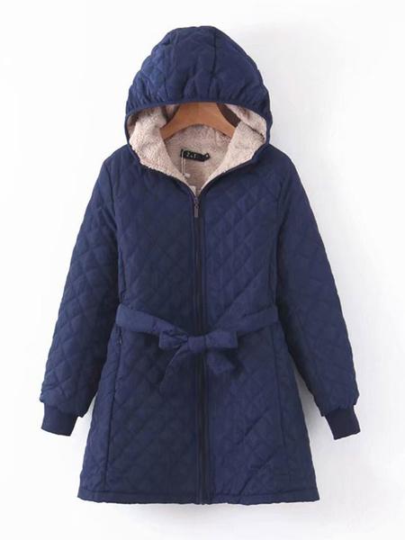 Milanoo Woman\s Outerwear Dark Navy Hooded Long Sleeves Drawstring Casual Maxi Coat Winter Outerwear