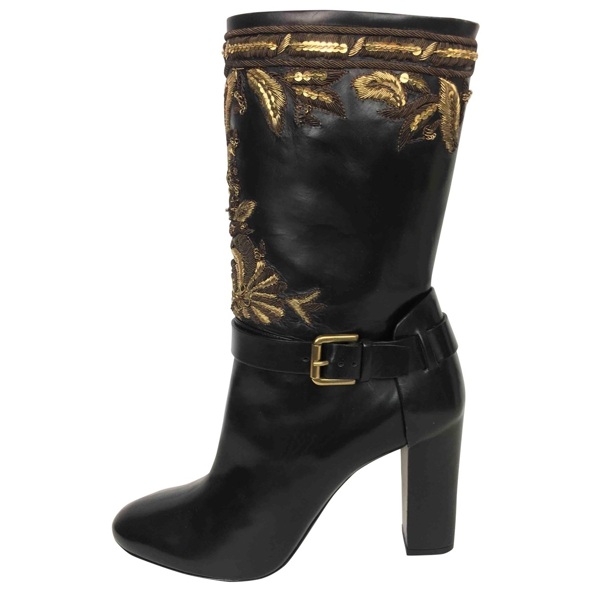 Ralph Lauren Collection \N Black Leather Ankle boots for Women 37 EU