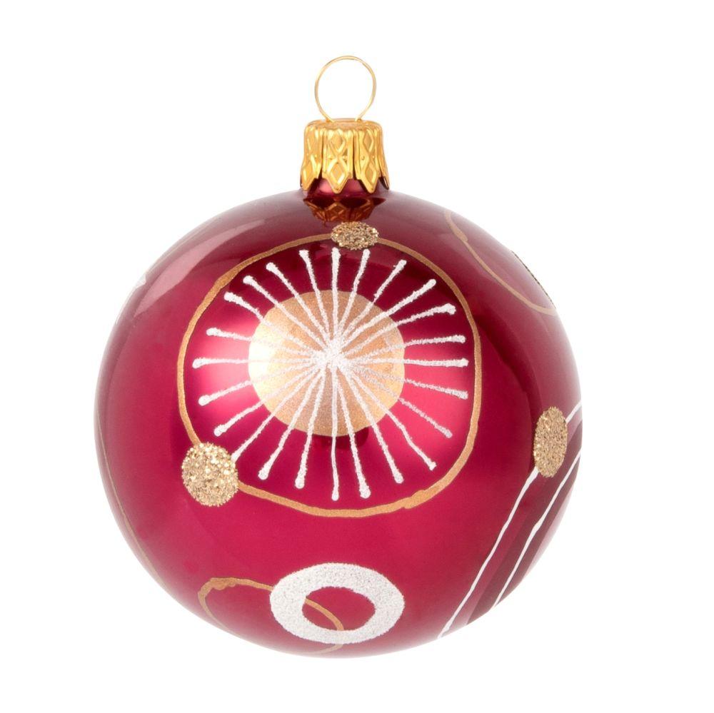 Weihnachtskugel aus rotem Glas mit grafischem Druckmotiv