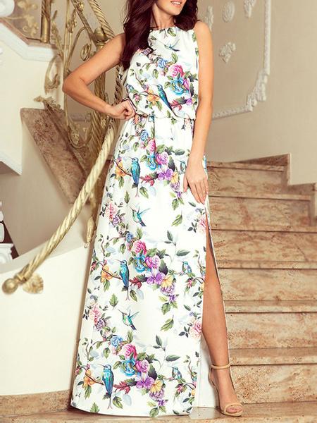 Milanoo Maxi Dresses Floral Print Split Sleeveless Chiffon Beach Dress