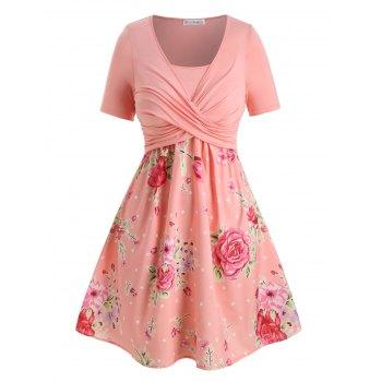 Plus Size Crossover Floral Print Dress