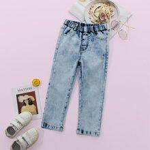 Jeans mit elastischer Taille und Waschung