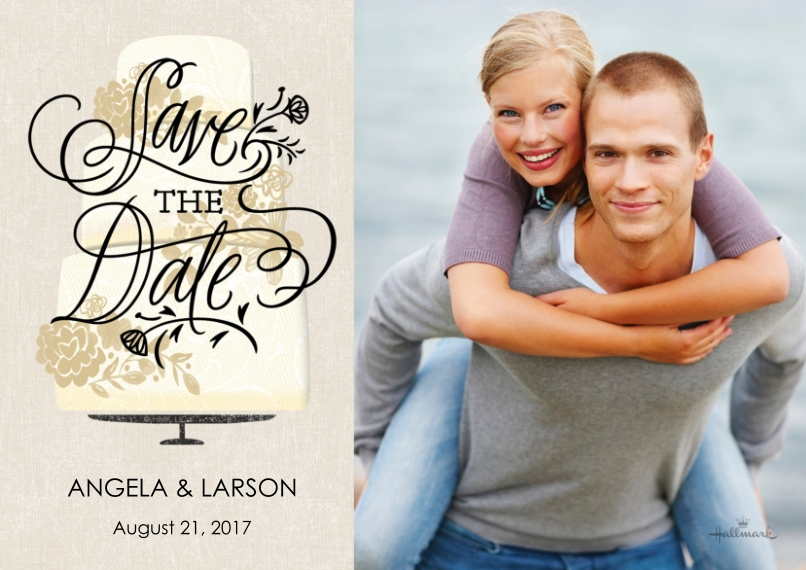 Save the Date 5x7 Cards, Premium Cardstock 120lb, Card & Stationery -Wedding Cake Save the Date