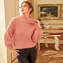 Gerippter Strick Pullover mit Kragen