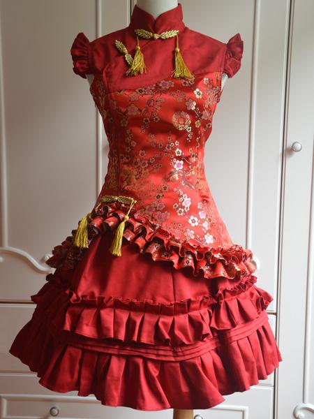 Milanoo Classic Red Satin Qi Lolita Dress Sleevesless Plum Blossom Printed Ruffles