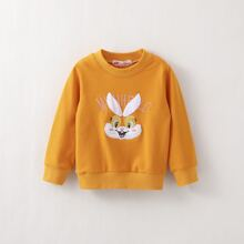 Toddler Girls Rabbit Face Embroidery Sweatshirt
