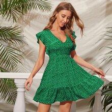 Kleid mit Herzen Muster und Raffungsaum