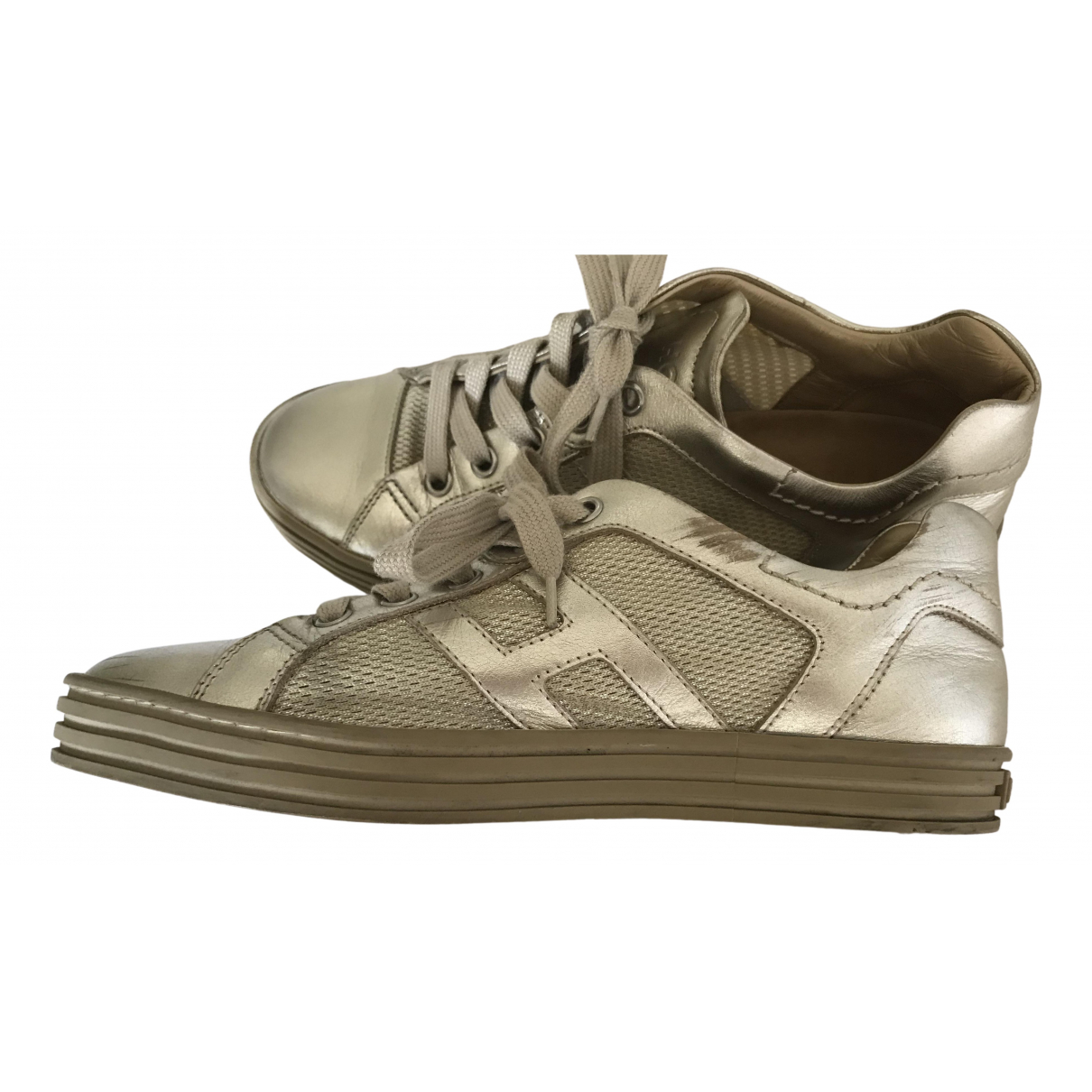 Hogan N Silver Leather Trainers for Women 36.5 IT