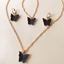 4pcs Butterfly Decor Jewelry Set