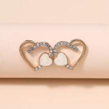 Rhinestone Decor Heart Design Stud Earrings