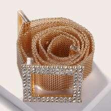 Cinturon metalico con hebilla grabada con diamante de imitacion