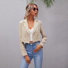 Zweireihiger Tweed Blazer mit Karo Muster
