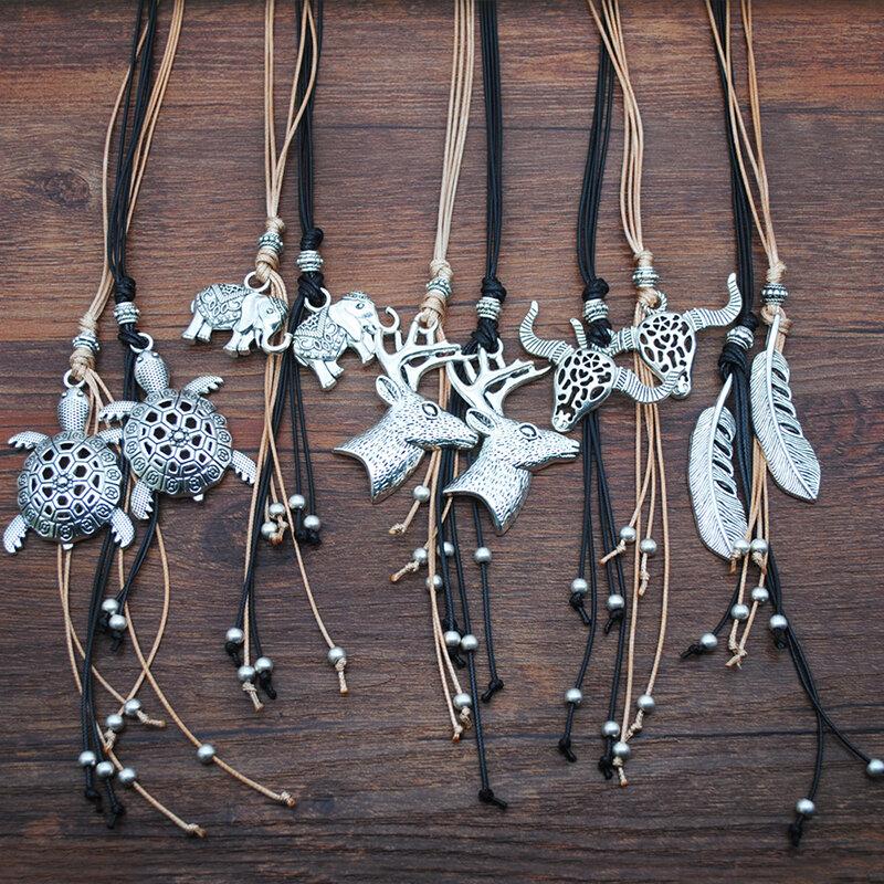 Vintage Metal Hollow Bull Head Turtle Animal Velvet Leather Necklace Geometric Elephant Leaf Pendant Long Necklace