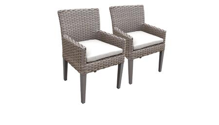 Monterey Collection MONTEREY-TKC297b-DC-C-WHITE 2 Dining Chairs With Arms - Beige and Sail White