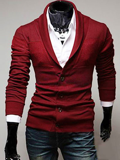 Milanoo Cotton Shawl Neck Cardigan with Long Sleeve in Regular Fit