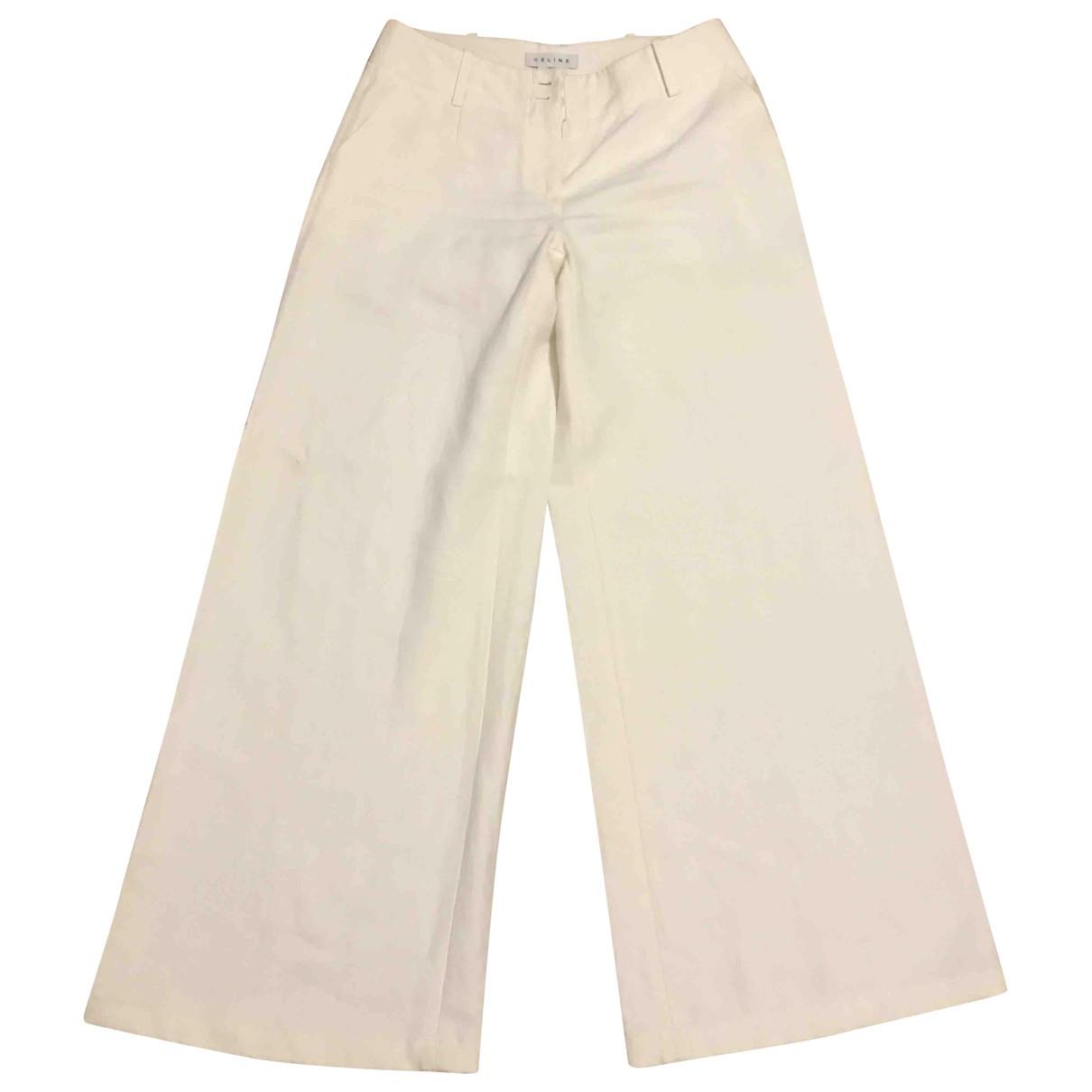 Celine \N Beige Linen Trousers for Women 36 FR