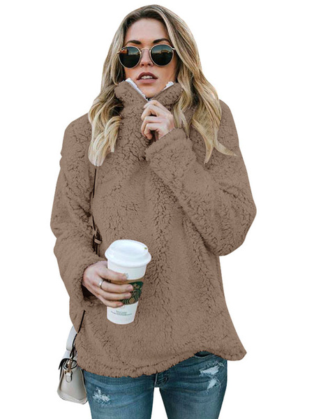 Milanoo Teddy Bear Pullover Hoodie Women Long Sleeve Half Zip Faux Fur Hooded Outerwear