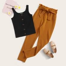 Girls Button Front Rib-knit Tank Top & Paperbag Waist Belted Pants Set