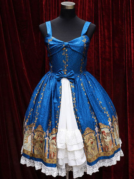 Milanoo Straps Neck Print Cotton Blend Cute Lolita Jumper Skirt  Original Design