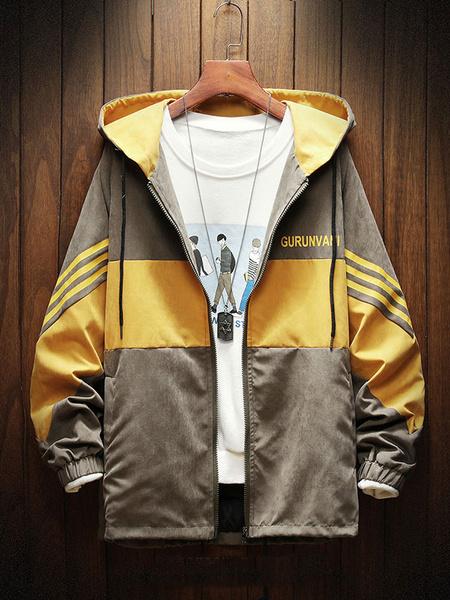 Milanoo Men\\'s Hooded Jackets Zip Through Color Block Spring Jacket
