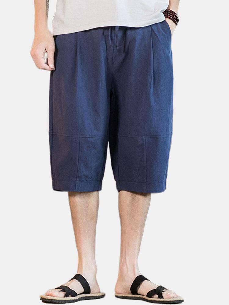 Mens Solid Color Breathable & Thin Elastic Drawstring Casual Light Shorts