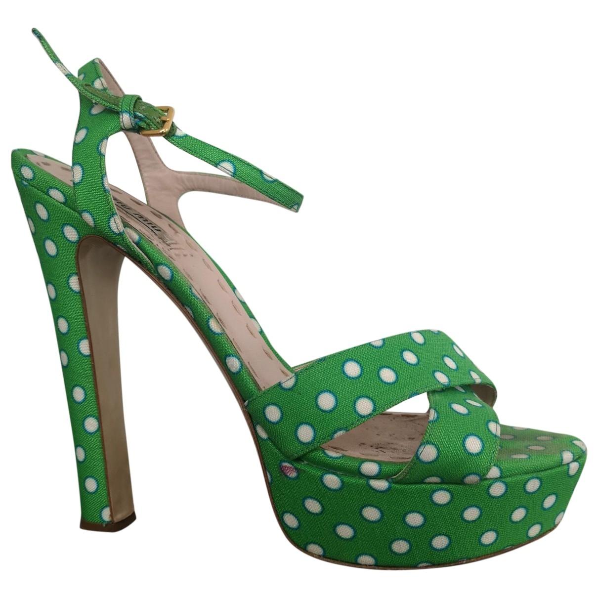 Miu Miu - Sandales   pour femme en toile - vert