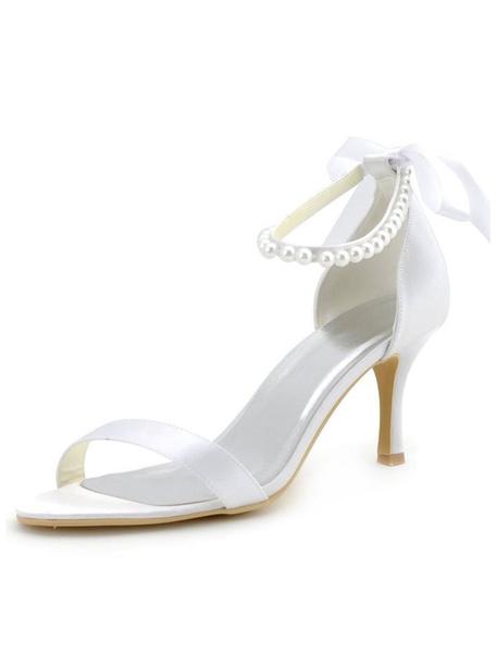 Milanoo Bow Pearls Bridal Sandals White Satin Wedding Heels for Women